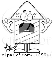 Cartoon Clipart Of A Scared Rocket Firework Mascot Vector Outlined Coloring Page
