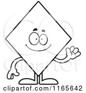 Cartoon Clipart Of A Waving Diamond Card Suit Mascot Vector Outlined Coloring Page