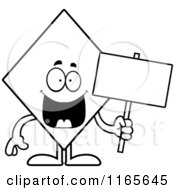 Cartoon Clipart Of A Diamond Card Suit Mascot Holding A Sign Vector Outlined Coloring Page