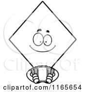 Cartoon Clipart Of A Diamond Card Suit Mascot Holding Playing Cards Vector Outlined Coloring Page