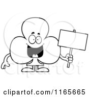 Cartoon Clipart Of A Club Card Suit Mascot Holding A Sign Vector Outlined Coloring Page by Cory Thoman