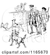Clipart Of Retro Vintage Black And White Injured Men And Dogs Royalty Free Vector Illustration