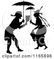 Clipart Of A Silhouetted Couple Under Umbrellas Royalty Free Vector Illustration by Prawny Vintage