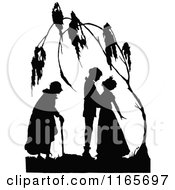 Clipart Of A Silhouetted Couple Under A Tree Royalty Free Vector Illustration