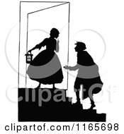 Clipart Of A Silhouetted Couple On Steps Royalty Free Vector Illustration