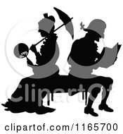 Clipart Of A Silhouetted Couple On A Bench Royalty Free Vector Illustration