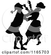 Clipart Of A Silhouetted Couple Laughing Royalty Free Vector Illustration