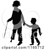 Clipart Of A Silhouetted Boy And Peg Legged Father Royalty Free Vector Illustration
