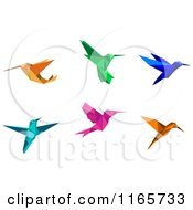 Clipart Of Origami Hummingbirds 5 Royalty Free Vector Illustration by Vector Tradition SM
