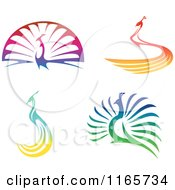 Clipart Of Colorful Peacocks Royalty Free Vector Illustration by Seamartini Graphics