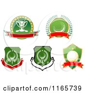 Clipart Of Green And Red Heraldic Golf Designs Royalty Free Vector Illustration by Vector Tradition SM