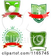 Clipart Of Green And Red Heraldic Golf Designs 2 Royalty Free Vector Illustration