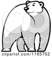Clipart Of A Black And White Bear Glancing Royalty Free Vector Illustration by Vector Tradition SM