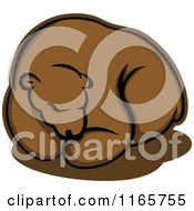 Clipart Of A Hibernating Brown Bear Royalty Free Vector Illustration