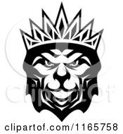 Clipart Of A Black And White Heraldic Lion With A Crown 3 Royalty Free Vector Illustration
