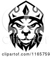 Clipart Of A Black And White Heraldic Lion With A Crown 4 Royalty Free Vector Illustration