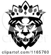 Clipart Of A Black And White Heraldic Lion With A Crown Royalty Free Vector Illustration