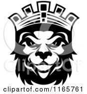 Clipart Of A Black And White Heraldic Lion With A Crown 2 Royalty Free Vector Illustration