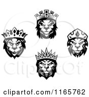 Clipart Of Black And White Heraldic Lions With Crowns Royalty Free Vector Illustration