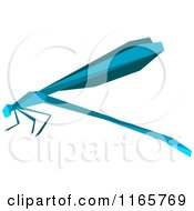 Clipart Of A Blue Origami Dragonfly Royalty Free Vector Illustration by Vector Tradition SM