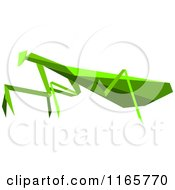 Clipart Of A Green Origami Praying Mantis Royalty Free Vector Illustration
