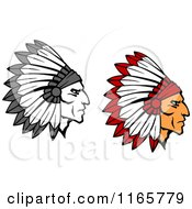 Clipart Of Native American Braves With Feathered Headdresses 2 Royalty Free Vector Illustration by Vector Tradition SM