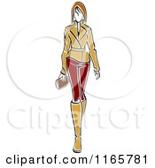 Clipart Of A Stylish Woman In Brown Autumn Apparel Royalty Free Vector Illustration