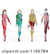 Clipart Of Stylish Women In Autumn Apparel Royalty Free Vector Illustration