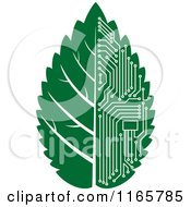 Clipart Of A Green Computer Motherboard Circuit Leaf 2 Royalty Free Vector Illustration