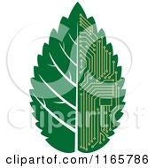 Clipart Of A Green Computer Motherboard Circuit Leaf Royalty Free Vector Illustration