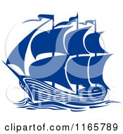 Clipart Of A Blue Brigantine Ship Royalty Free Vector Illustration