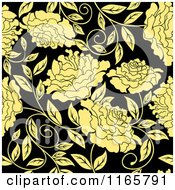 Clipart Of A Seamless Pattern Of Yellow Flowers On Black Royalty Free Vector Illustration