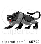 Clipart Of An Aggressive Black Panther Royalty Free Vector Illustration by Vector Tradition SM