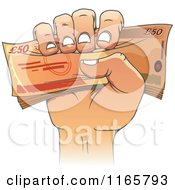 Clipart Of A Cartoon Hand Holding Fifty Pound Euro Cash Royalty Free Vector Illustration