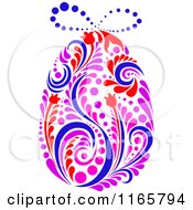 Clipart Of A Floral Easter Egg Royalty Free Vector Illustration