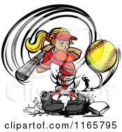 Cartoon Of A Strong Female Baseball Player Swinging And Hitting A Softball Royalty Free Vector Clipart