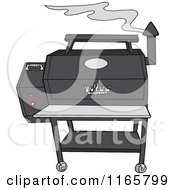 Cartoon Of A Smoking Grey Pellet Grill Royalty Free Vector Clipart