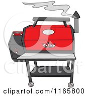 Cartoon Of A Smoking Grey And Red Pellet Grill Royalty Free Vector Clipart