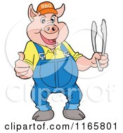 Cartoon Of A Pig Wearing Overalls And A Bbq Hat And Holding Tongs And A Thumb Up Royalty Free Vector Clipart