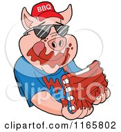 Cartoon Of A Pig Wearing Shades And A Bbq Hat And Eating Messy Ribs Royalty Free Vector Clipart by LaffToon