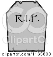 Cartoon Of A Cracked RIP Tombstone Royalty Free Vector Clipart