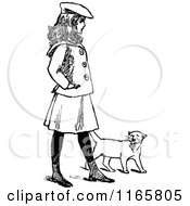 Clipart Of A Retro Vintage Black And White Girl Walking With A Cat Royalty Free Vector Illustration