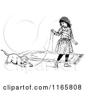Clipart Of A Retro Vintage Black And White Girl Playing With A Cat Royalty Free Vector Illustration