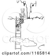 Clipart Of Retro Vintage Black And White Children Climbing Above Clouds Royalty Free Vector Illustration