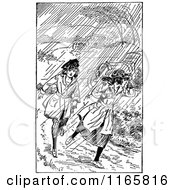 Clipart Of Retro Vintage Black And White Girls Running In The Rain Royalty Free Vector Illustration by Prawny Vintage