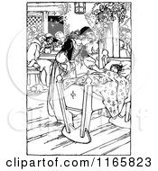 Clipart Of A Retro Vintage Black And White Girl Tending To A Baby Royalty Free Vector Illustration