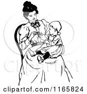 Clipart Of A Retro Vintage Black And White Mother With A Baby In Her Lap Royalty Free Vector Illustration