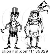 Clipart Of A Retro Vintage Black And White Boys In Man And Native Costumes Royalty Free Vector Illustration by Prawny Vintage