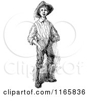 Clipart Of A Retro Vintage Black And White Farmer Boy Royalty Free Vector Illustration