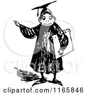 Retro Vintage Black And White Graduate Boy Pointing 2